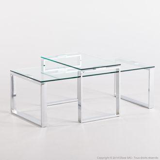 Tables Gigognes En Verre Trempe Et Metal Longueur 115cm Katrine Tables Gigognes Table Gigogne Verre Gigogne
