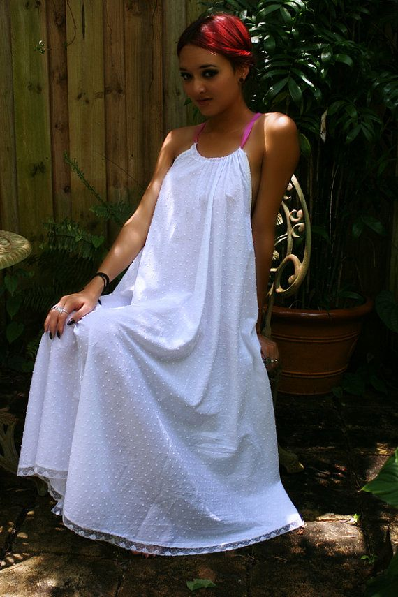 White Cotton Nightgown Dotted Swiss Batiste by SarafinaDreams  b335ce9ad
