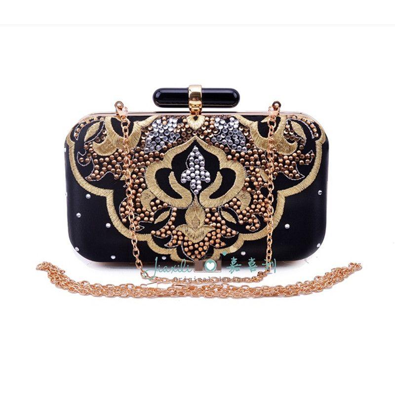 2016 New Women Vintage Beaded Satin Handbag Fashion