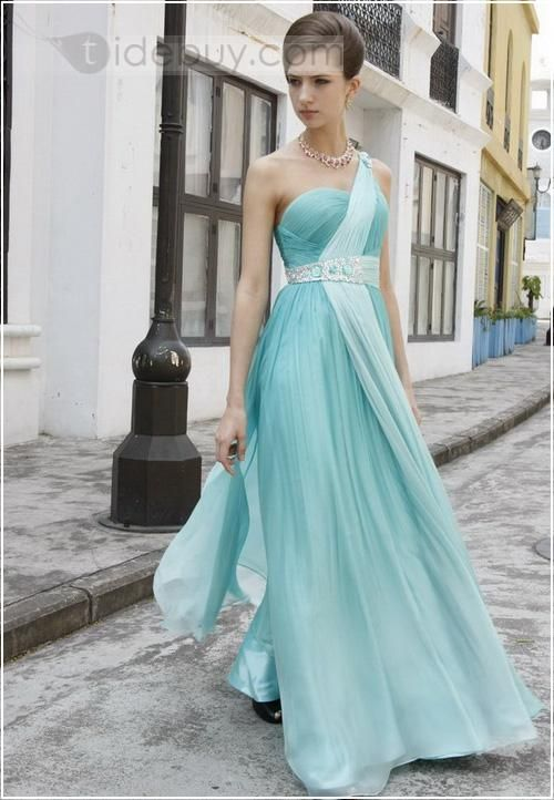 Charming A-line One-shoulder Floor-length Sashes Evening Dress