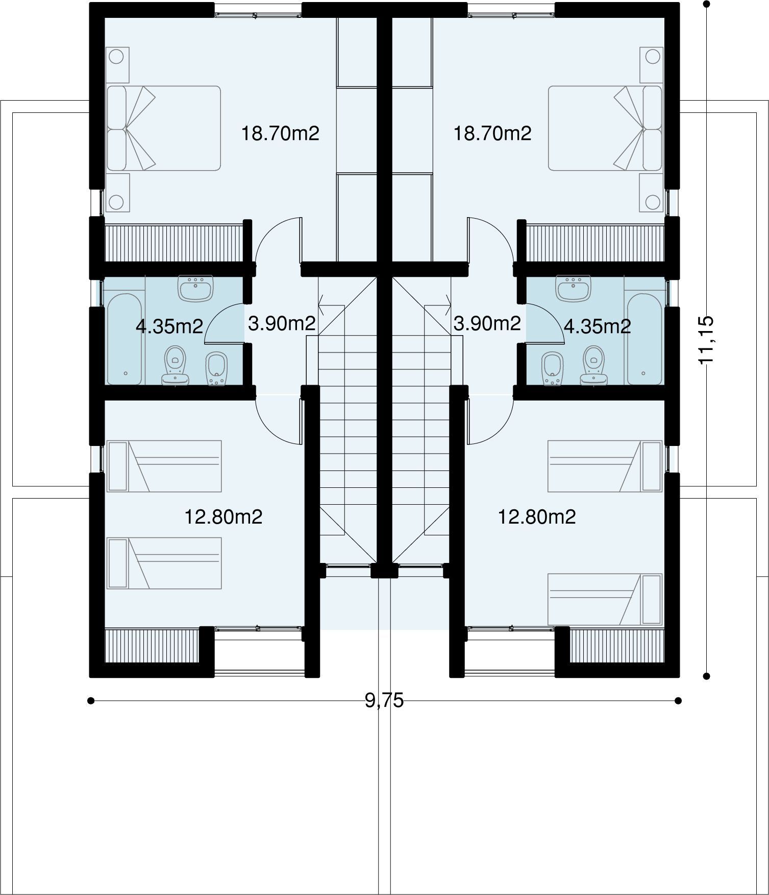 Conjunto de dos dúplex de 89,2m2 cuadrados cada uno, juntos suman ...