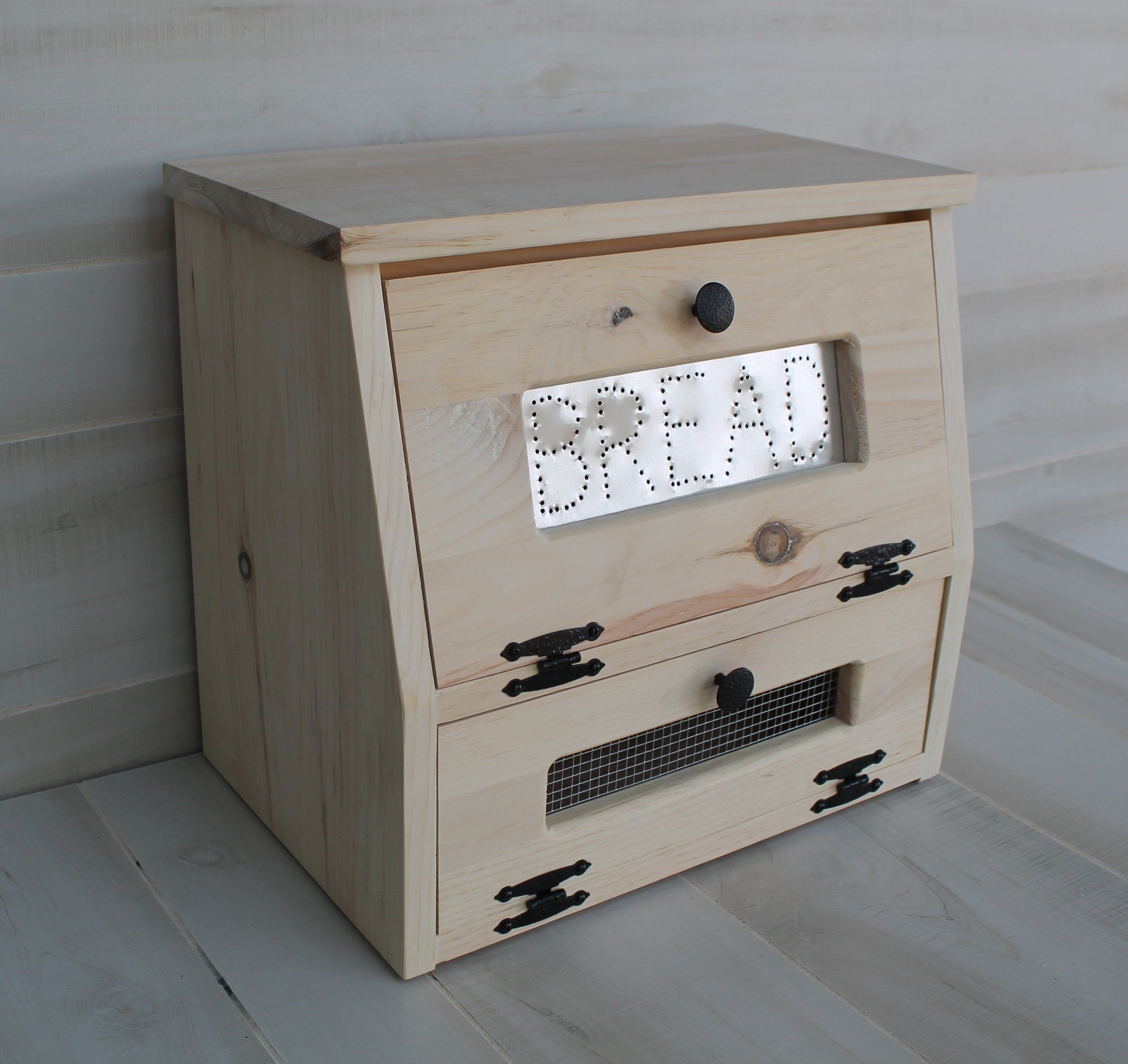 Rustic Bread Box Vegetable Bin UNFINISHED wooden Punched