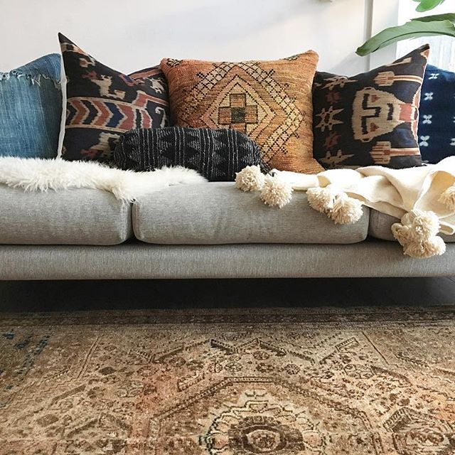 Living Room Translate To Indo: Indonesian Ikat Pillows / Boujad Pillows / Persian Rug