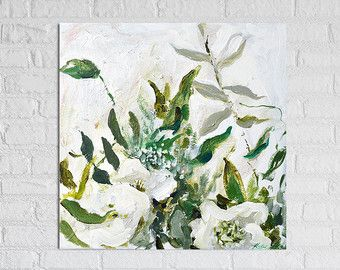 """Floral Painting Art Acrylic Original // """"Grace of Woman"""" 16 x 16"""" on Canvas"""