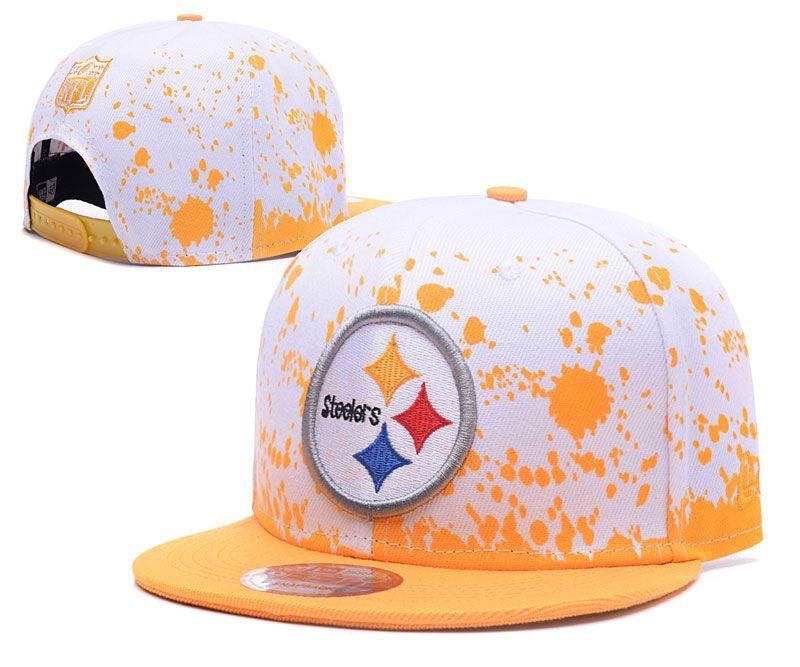 super popular b5bd8 7d28a Men  Pittsburgh Steelers NFL Team Logo Painting Splatter Snapback Hat -  White   Yellow