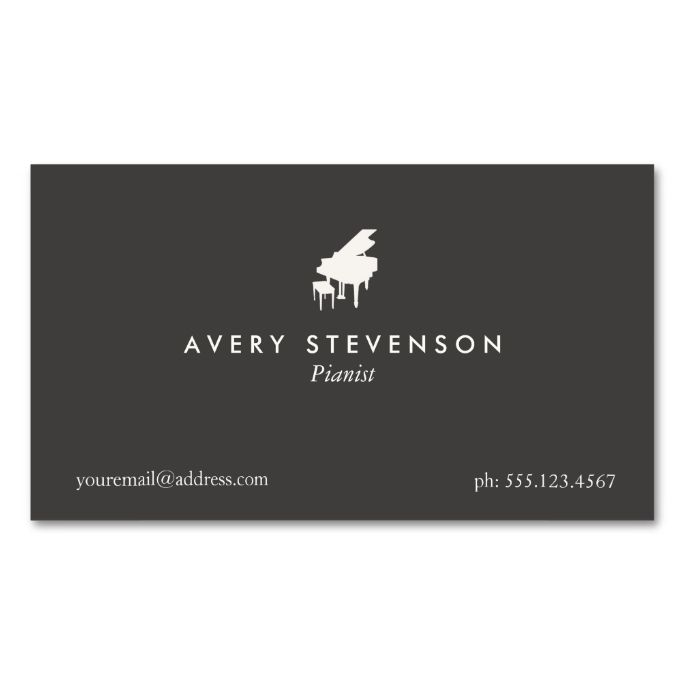 Pianist elegant and simple black piano double sided standard pianist elegant and simple black piano double sided standard business cards pack of 100 make your own business card with this great design reheart Choice Image