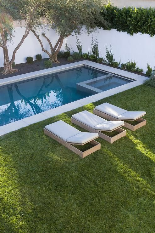 Fantastic backyard boasts a tow of trees placed before an in ground pool fitted with a