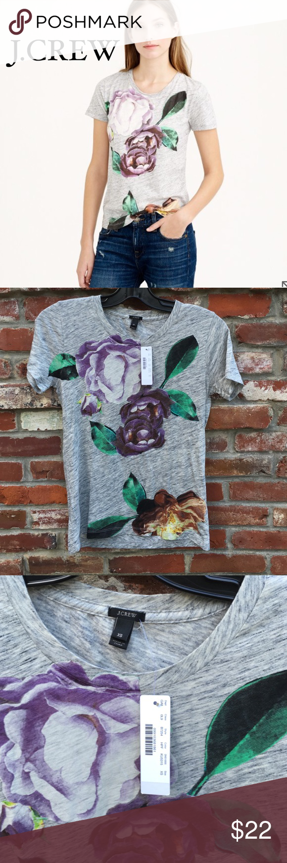 """J.Crew Exploded Floral Tee We started with a supersoft heathery T-shirt and used a special digital printing technique, so the photo-realistic blooms are extra crisp (just how we like 'em). BNWT NEVER WORN Cotton. Machine wash. Body length 25 1/2"""". J. Crew Tops Tees - Short Sleeve"""