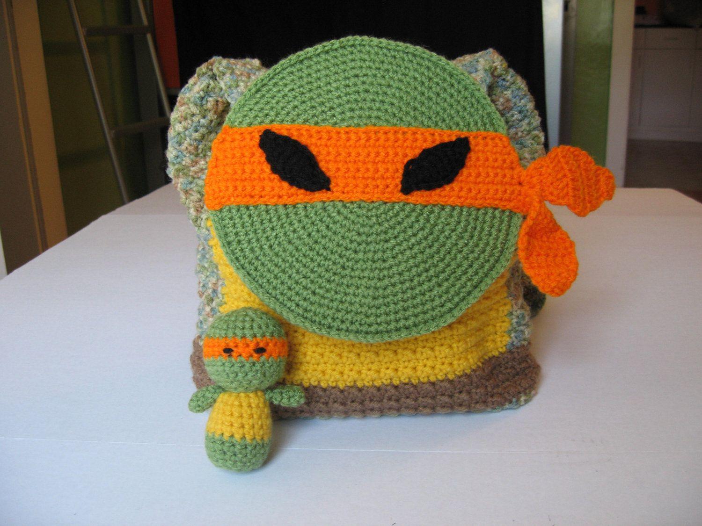 Handmade Crochet Ninja Turtle Back Pack   BAGS, PURSES, BASKETS ...