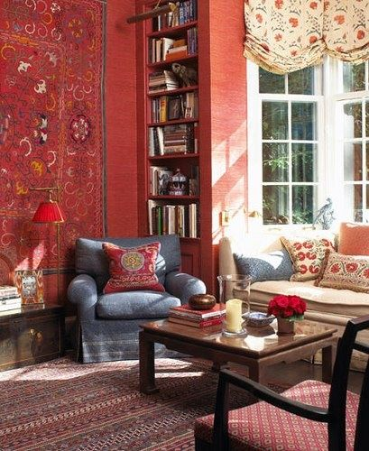 Living Room With Ethnic Decor Ideas Tapestry And Cushions Red Walls Rug Home Homeethnic