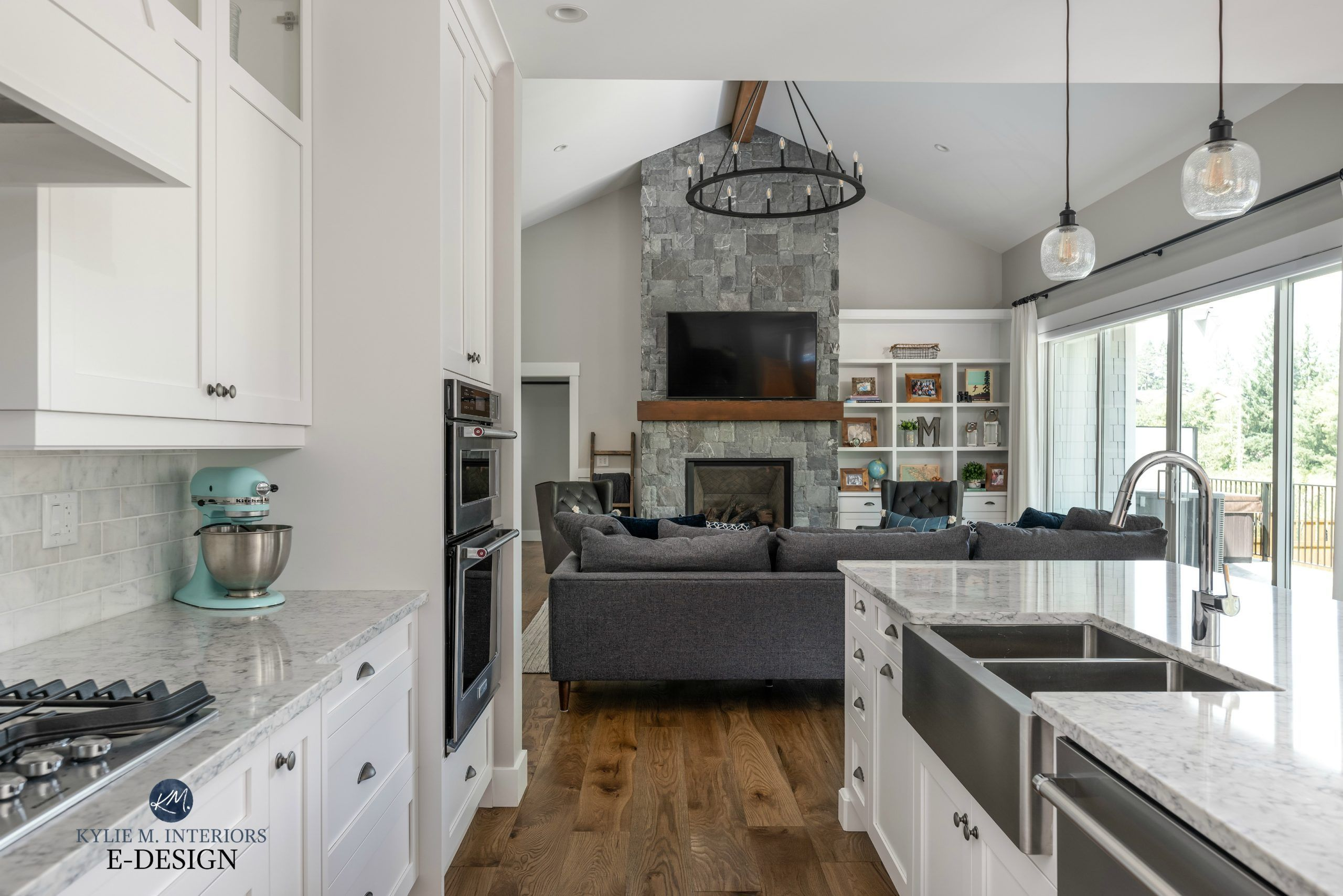 Open concept kitchen and living room, Stonington Gray, stone fireplace K2. Kylie M INteriors Edesign. Vaulted ceiling#ceiling #concept #edesign #fireplace #gray #interiors #kitchen #kylie #living #open #room #stone #stonington #vaulted