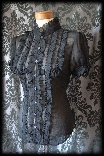 Gothic Black Sheer Frilled VICTORIAN GOVERNESS High Neck Blouse 8 10 Steampunk - £29.00