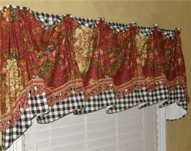 Provence French Country VALANCE Swag Curtain Waverly Red Gold ... Swag  CurtainsKitchen ...
