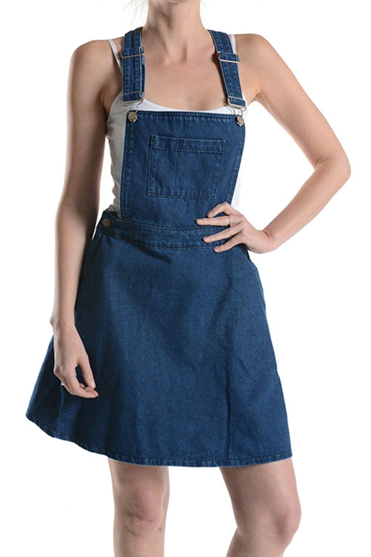 2b9c2172d9 NBU Denim Overall Romper Skater Skirt with Front Pocket and Adjustable  Strap (1XL)