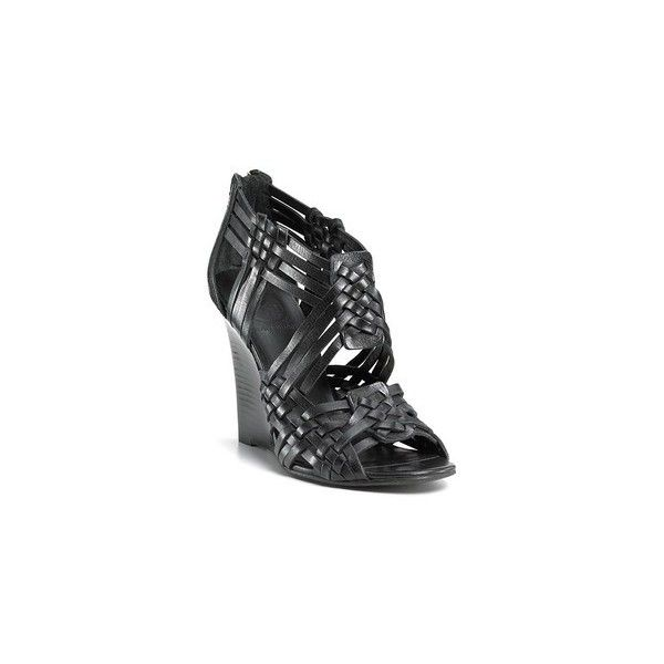Black Leather Woven Strap Wedge Sandal via Polyvore