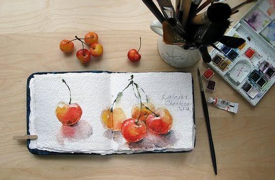 Watercolors by Maria Stezhko : Rainier cherries: