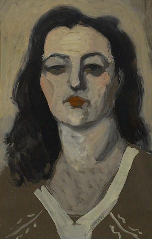 Milton Avery - Portrait of a Woman, gouache on paper