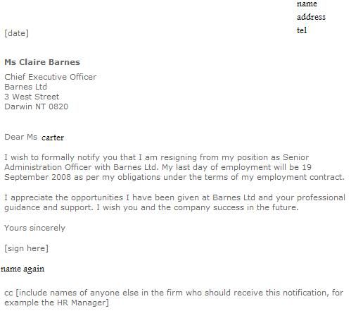 Formal Resignation Letter Examples  Job Seekers Forums  Cleaning