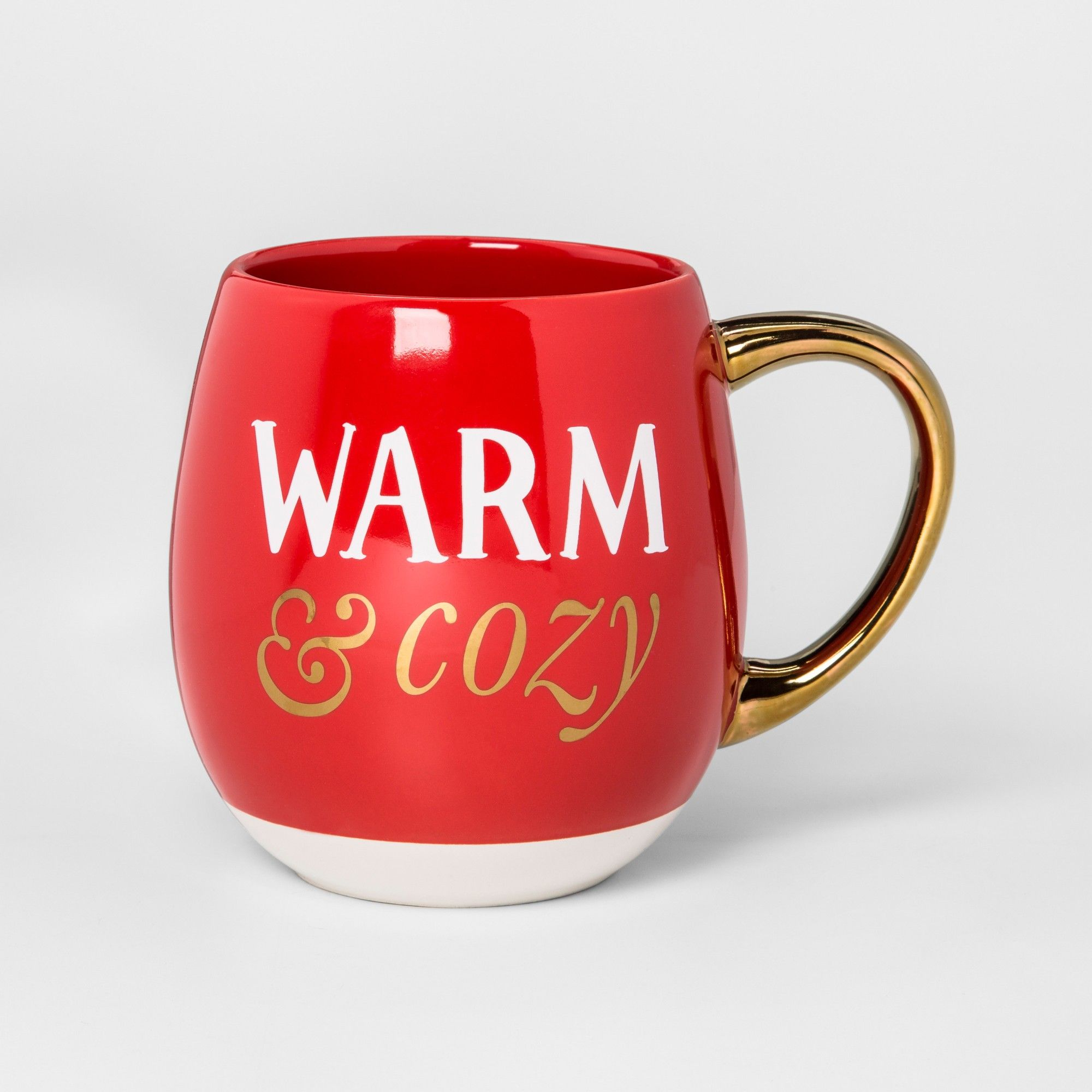 Stoneware Warm and Cozy Mug 17.5oz Red/White/Gold