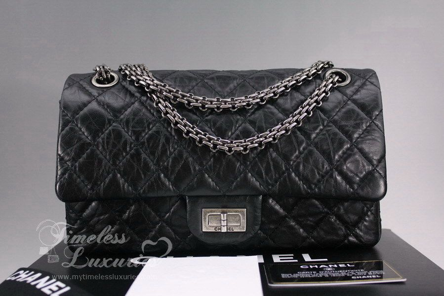 008d7dc820f1 CHANEL Black Aged Calf 2.55 Reissue 225 Classic Flap Bag | Chanel ...