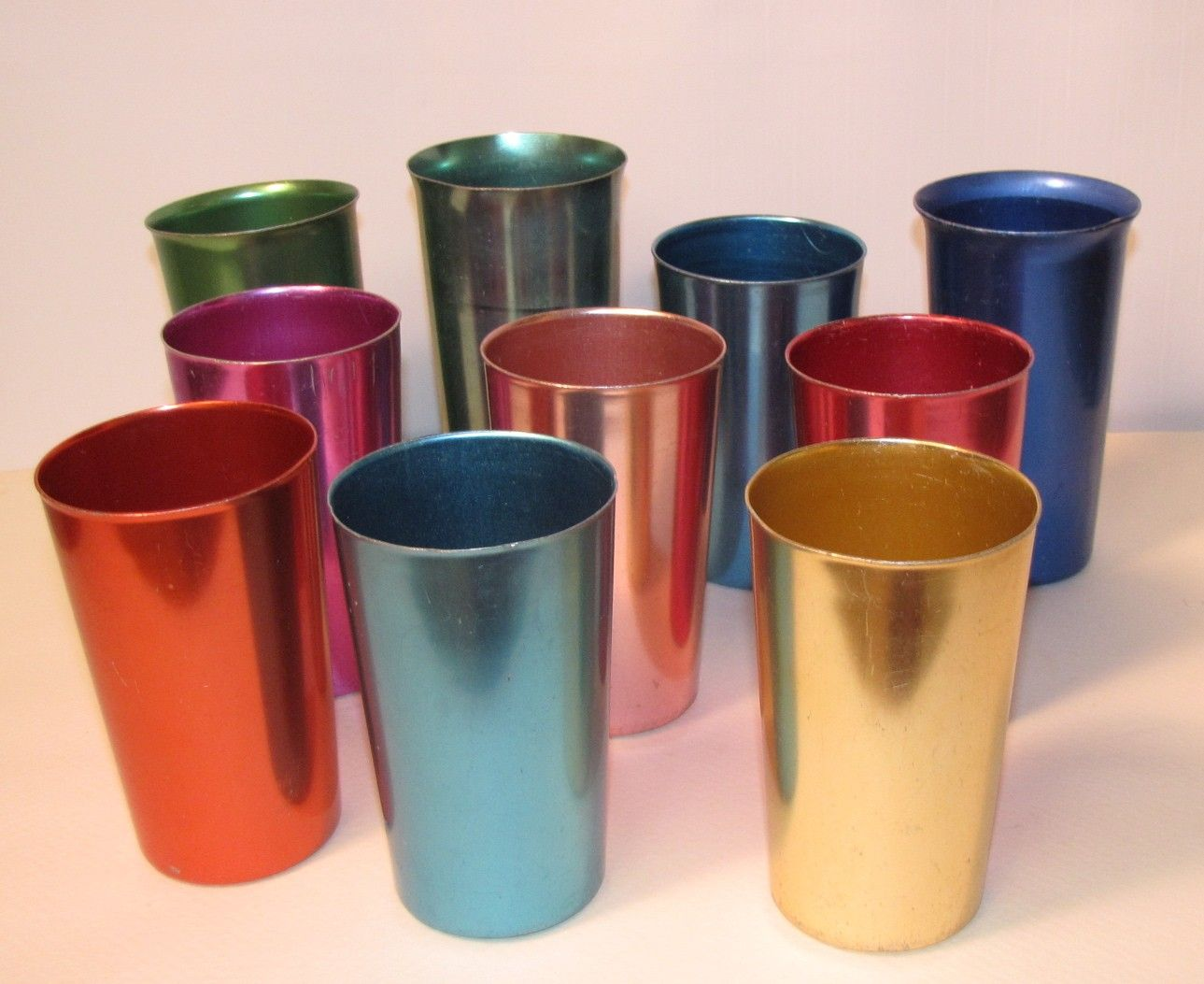 10 pc vintage anodized aluminum drinking glass set 1950s mcm keeps drinks icy