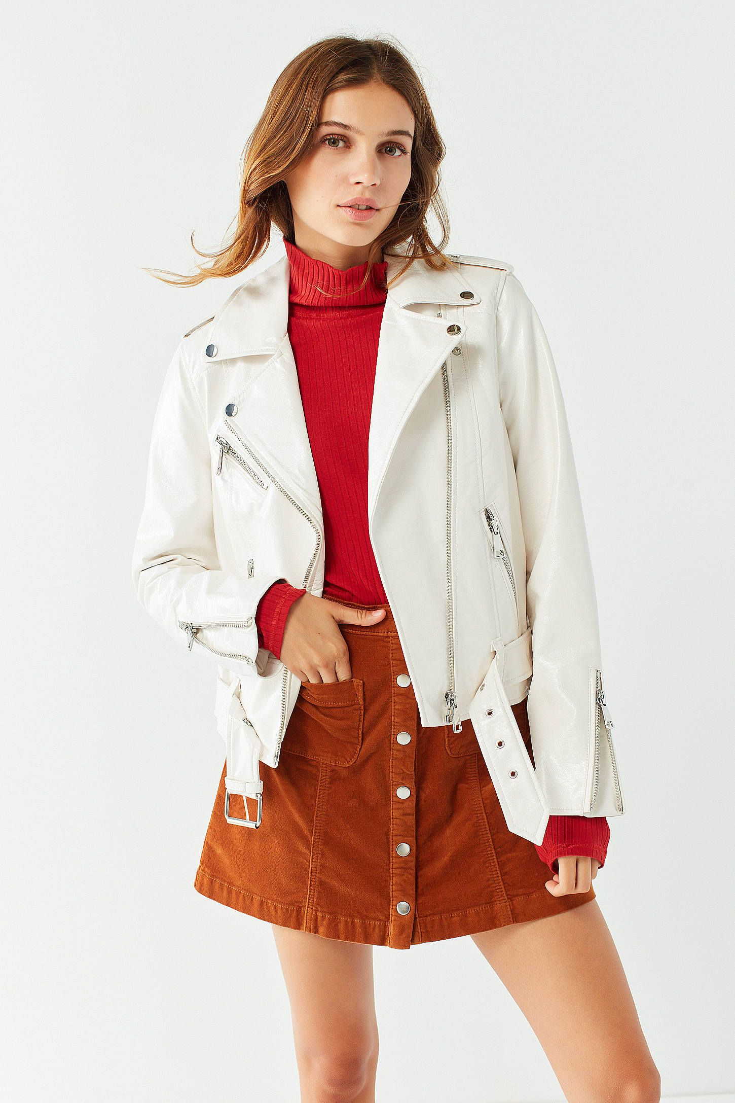 UO Patent Faux Leather Moto Jacket Leather jackets women