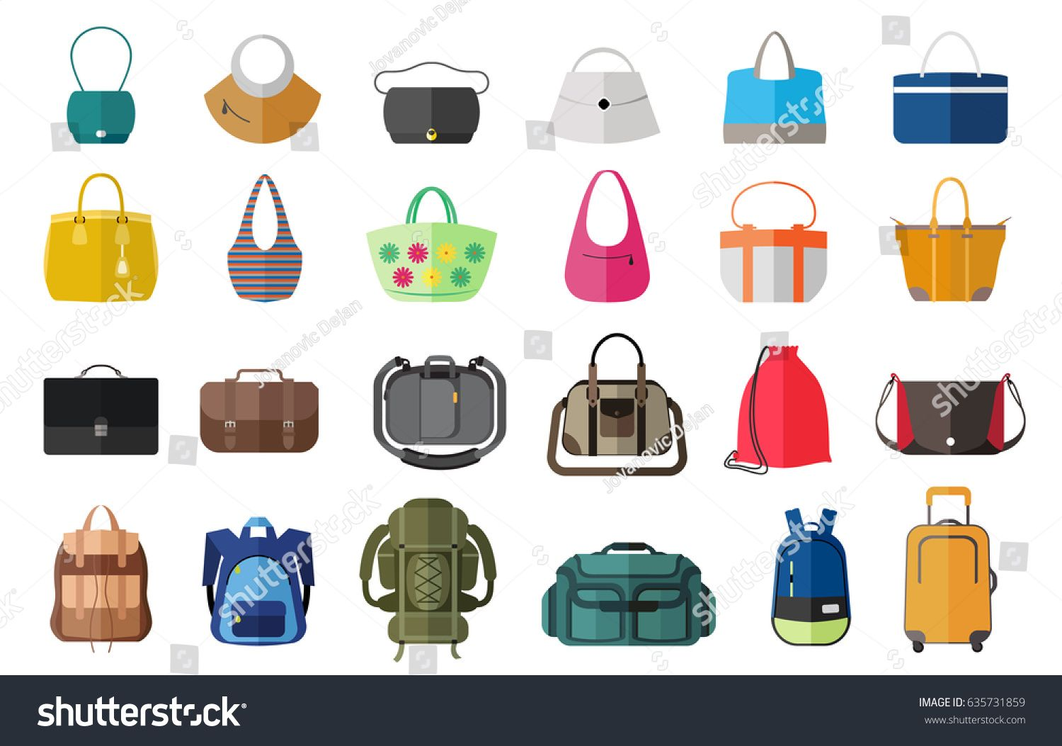 1ef14c0c9efd Set of icons of bags and luggage. Various types of bags ranging from ...