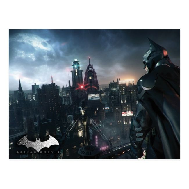 Batman Looking Over City Postcard Batman
