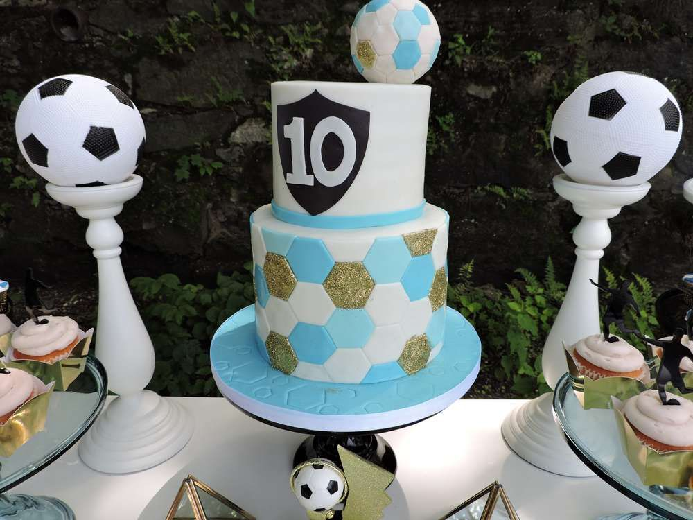 Fantastic cake at a soccer birthday party! See more party ideas at CatchMyParty.com!
