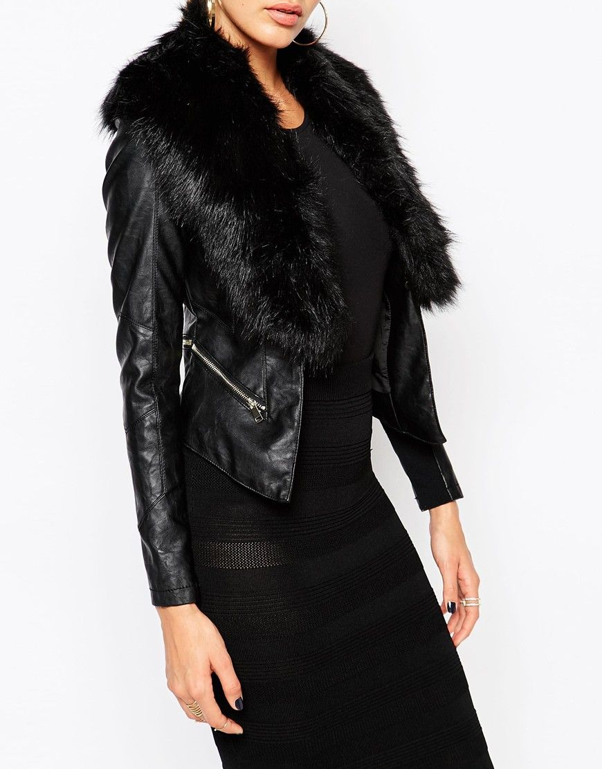 Image 3 of River Island Leather Look Jacket With Faux Fur