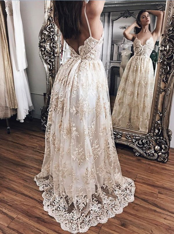 Open Back Boho Beach Wedding Dress with Sweep | Prom Dresses ...