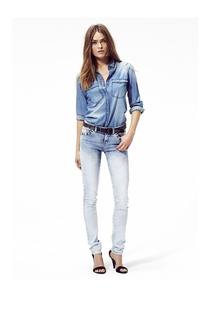 v tements femme chemise en jean et jean slim ikks jeans vaqueros o tejanos how to combine. Black Bedroom Furniture Sets. Home Design Ideas
