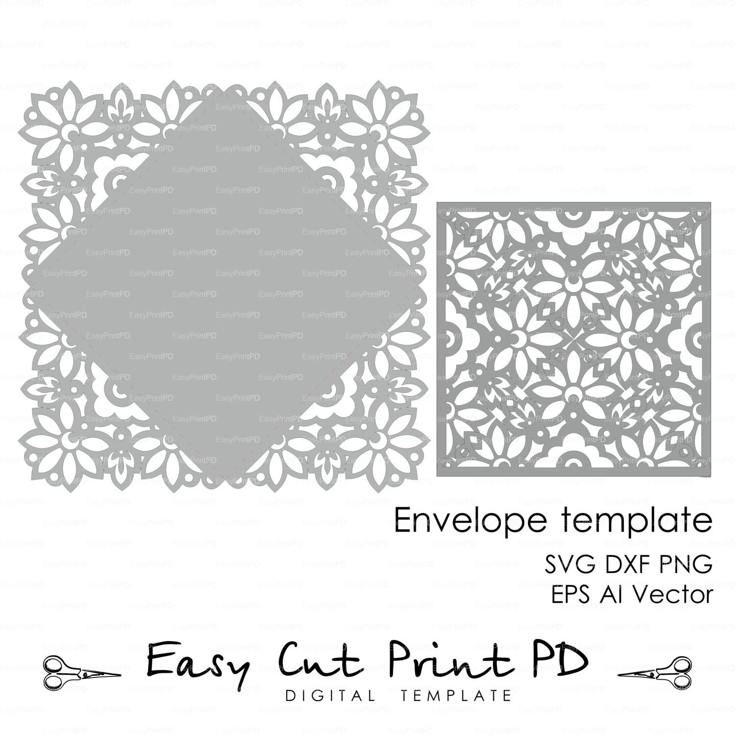 Wedding invitation Card Envelope Template Lace folds COVER ( svg ...