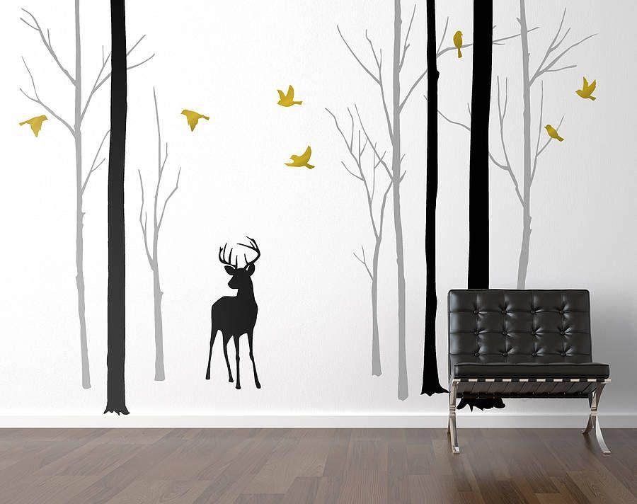 Best Deer In The Forest Black Grey Wall Sticker Grey Wall 400 x 300