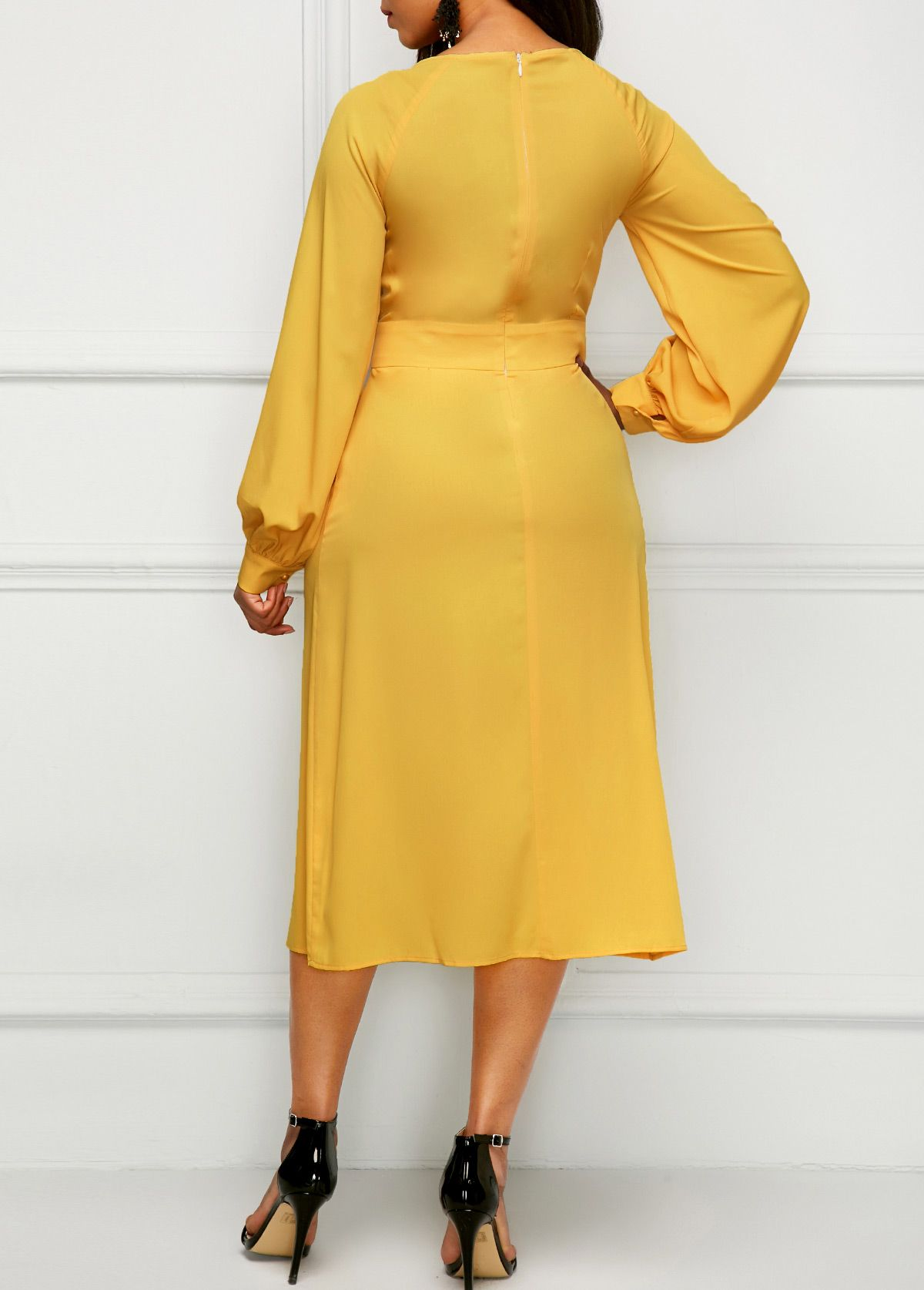 Band waist long sleeve yellow dress in pictures pinterest