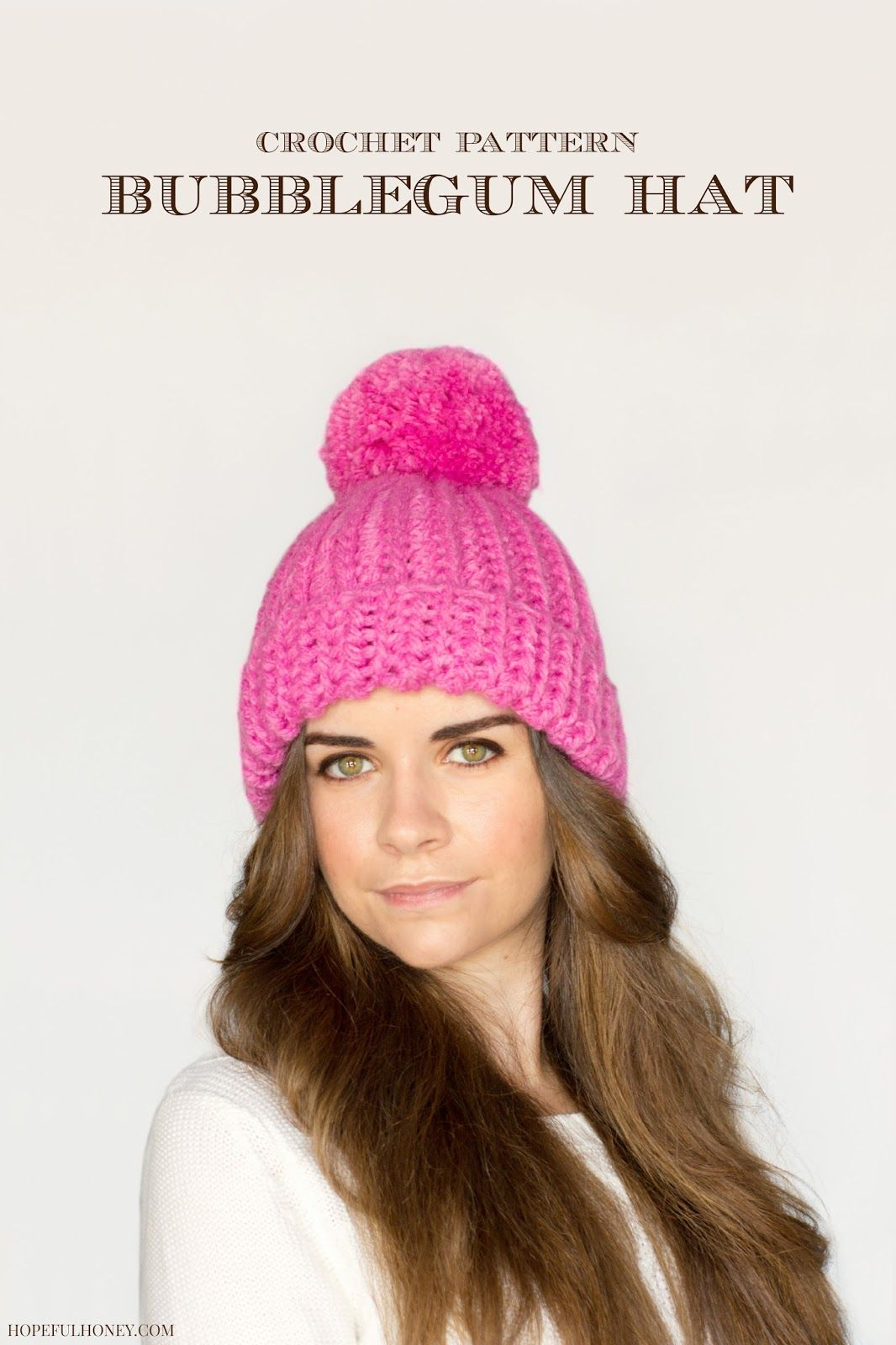 Classic Bubblegum Pompom Hat Crochet Pattern   Hopeful Honey ...