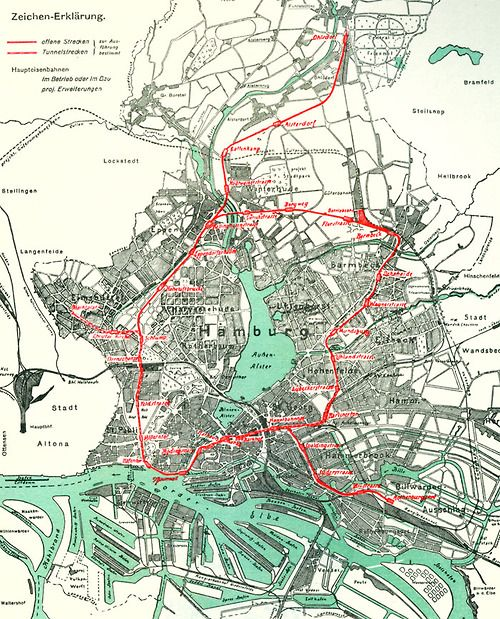 Hamburg Subway Map.Hamburg Subway Map In 1912 For My Wall Historical Maps Map Hamburg