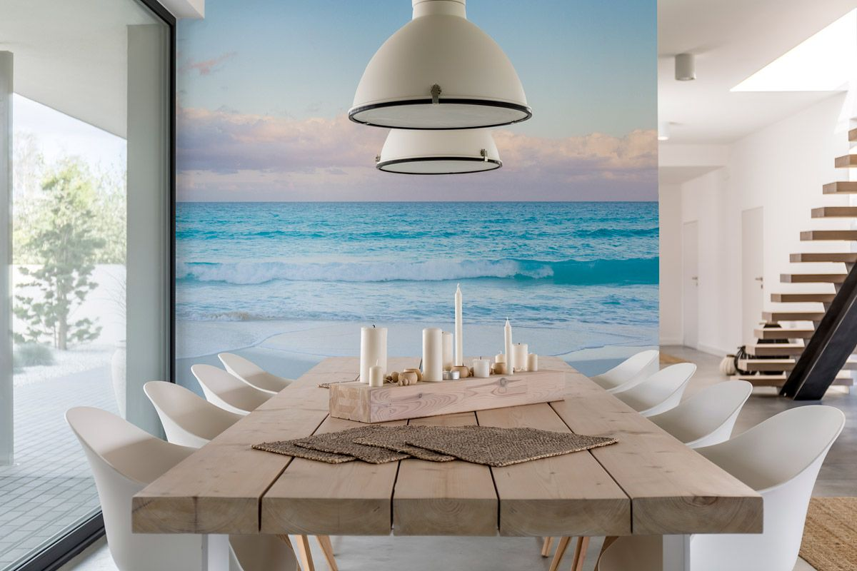 Dining Room Decor Ideas Dining Room Wall Mural Coastal Decor Beach House Design Ideas In 2020 Beach Wall Murals Beach House Design Dining Room Walls