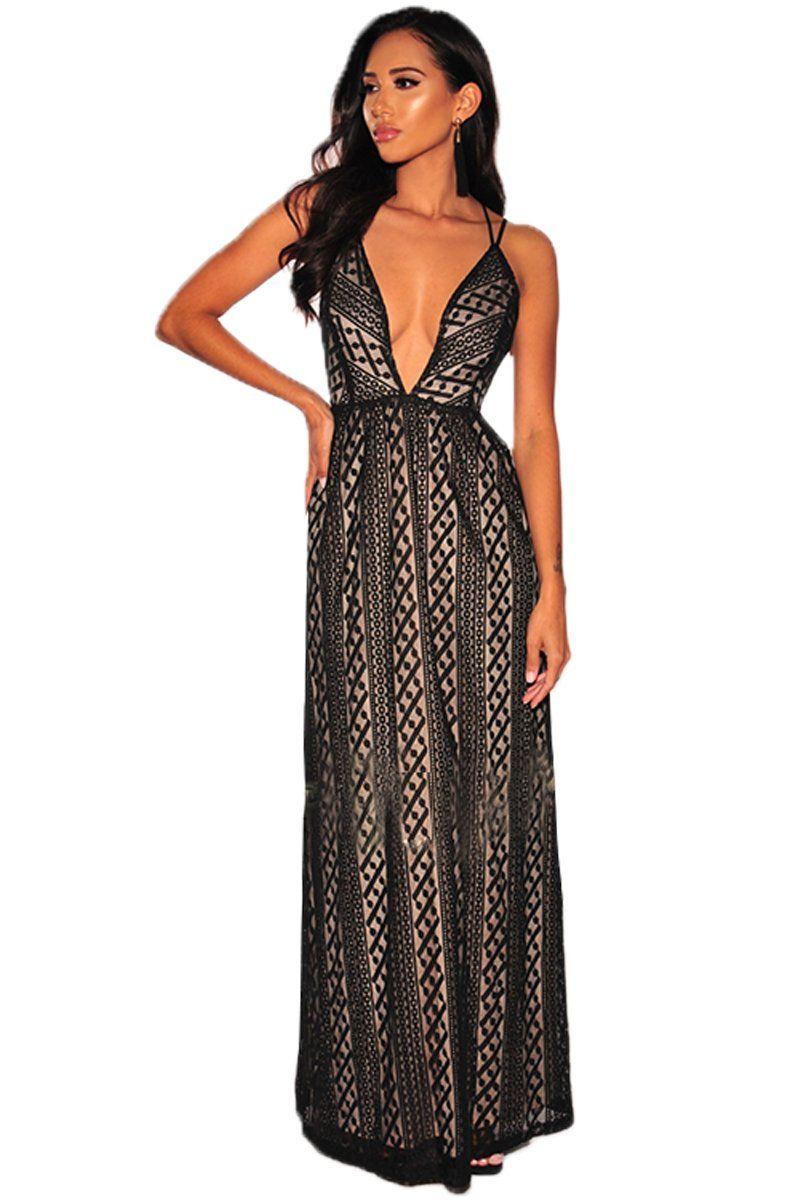 0607b89fc593e Black Nude Illusion Crisscross V Neck Evening Dress | Club and Party ...