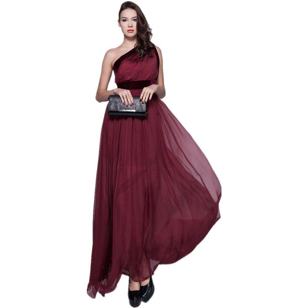 Yepuda women chiffon one shoulder backless red long prom sexy