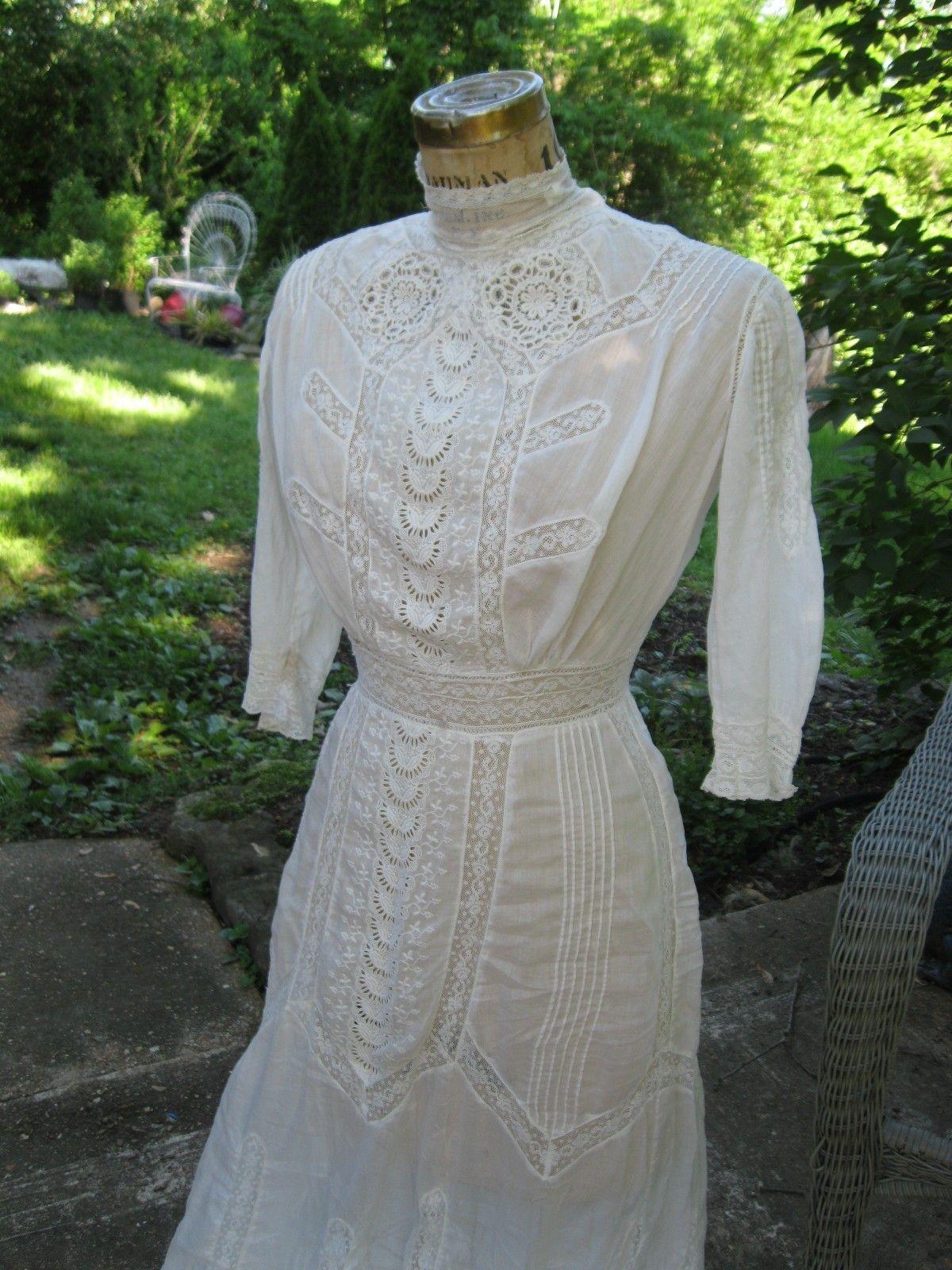 f123eafac0 Antique Edwardian Ladies Dress Gown Cotton Lawn Dress Victorian White Lace    eBay