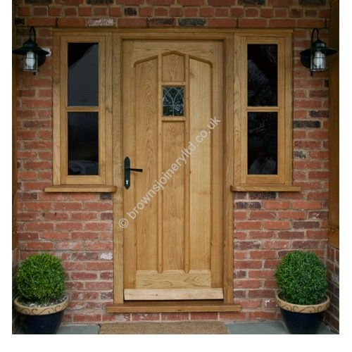BR02 Gothic Arched Solid Oak Door With A Window And Frame