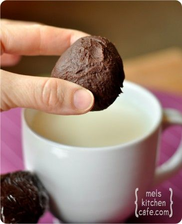 Truffle Hot Chocolate Balls...makes hot chocolate when dropped in milk. (Pair this with a cute mug and it makes a great gift!)