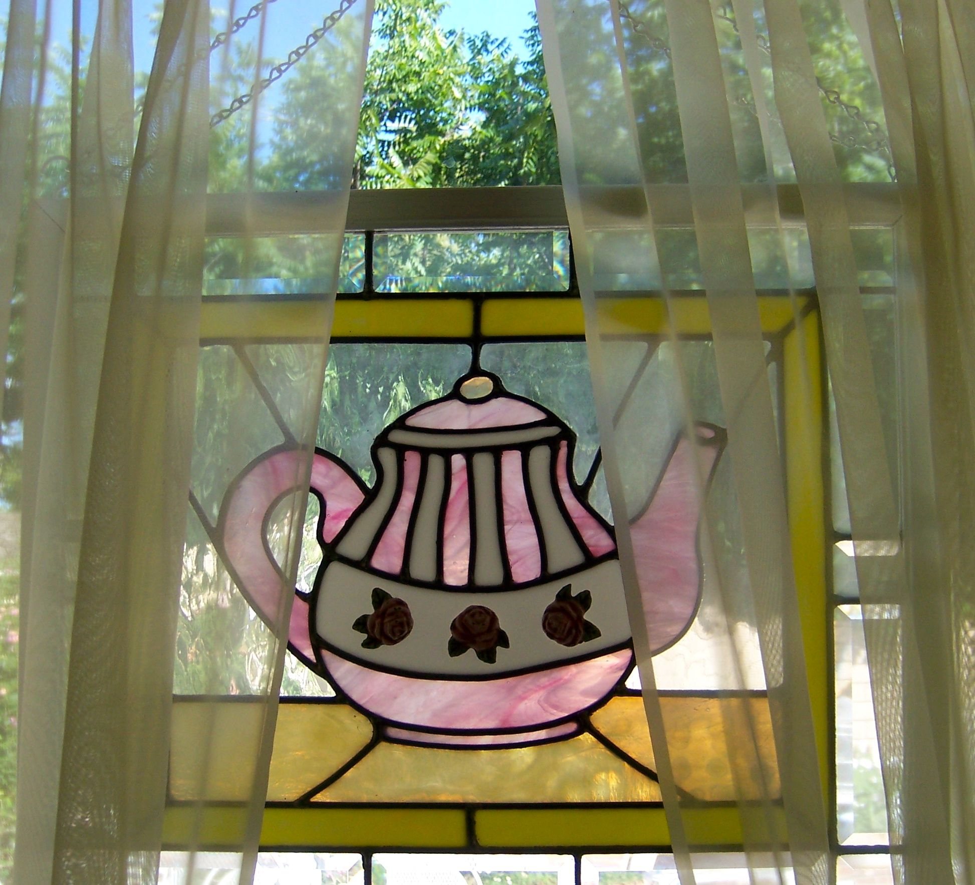 Stained Glass Pink teapot Suncatcher