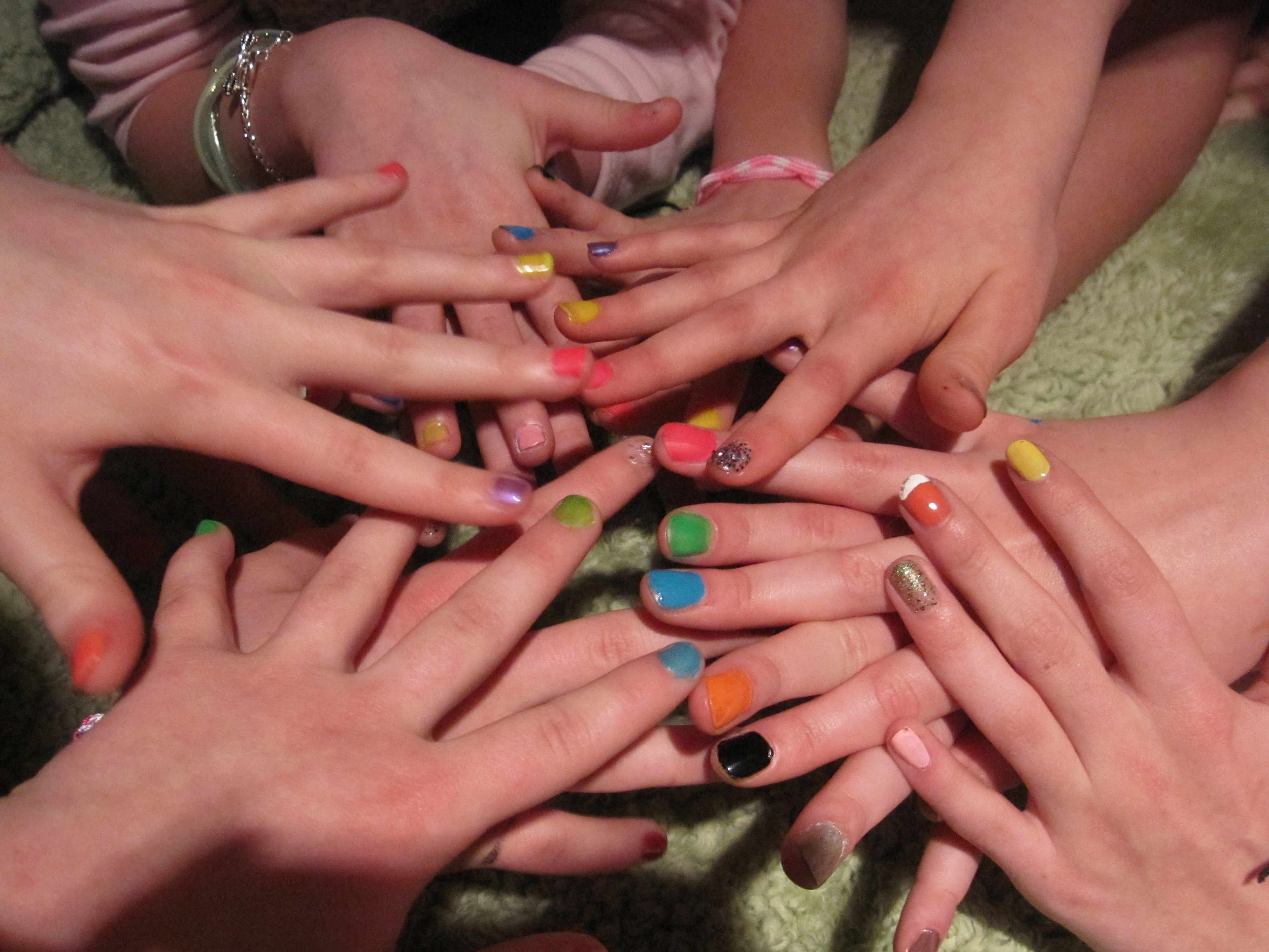 Spin the nail polish bottle.... fun game my girls did at thier ...