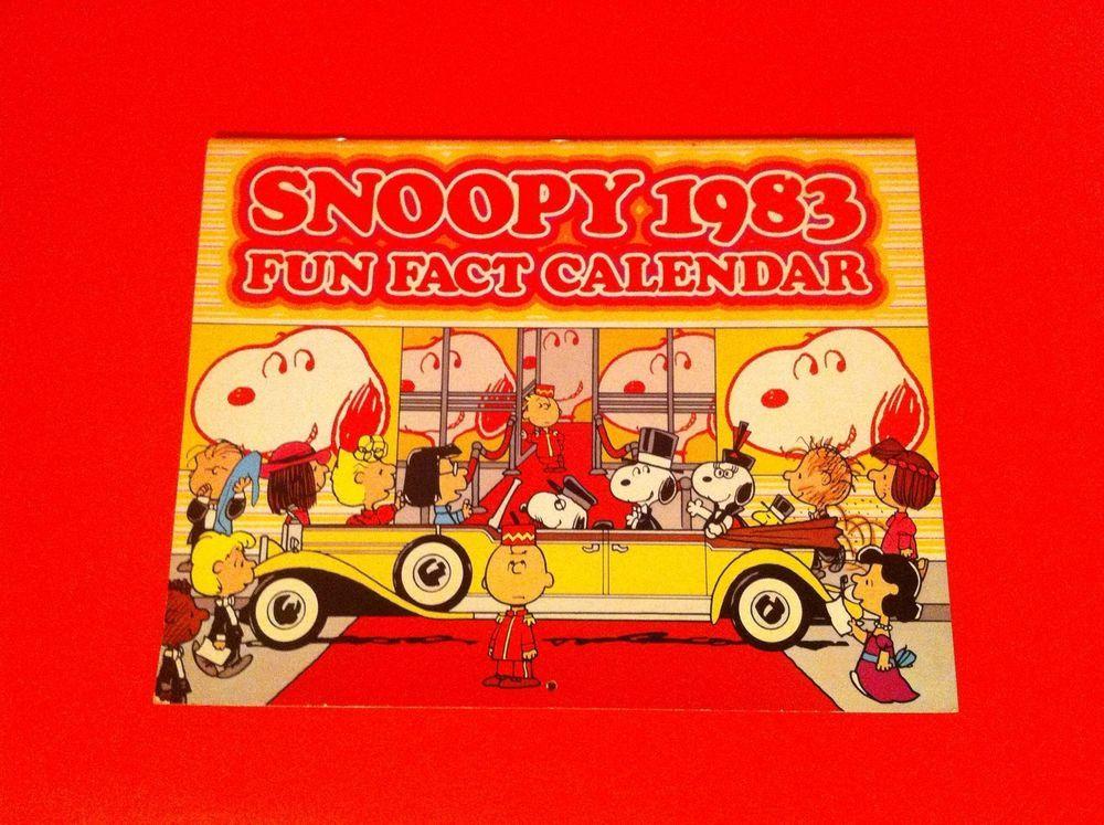 Vintage Peanuts Snoopy Calendar Fun Fact 1983 Charlie Brown Schulz