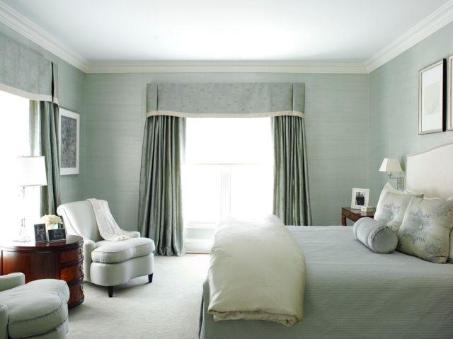 dezente grüntöne im schlafzimmer-ausgleichende wirkung-drapierte ...