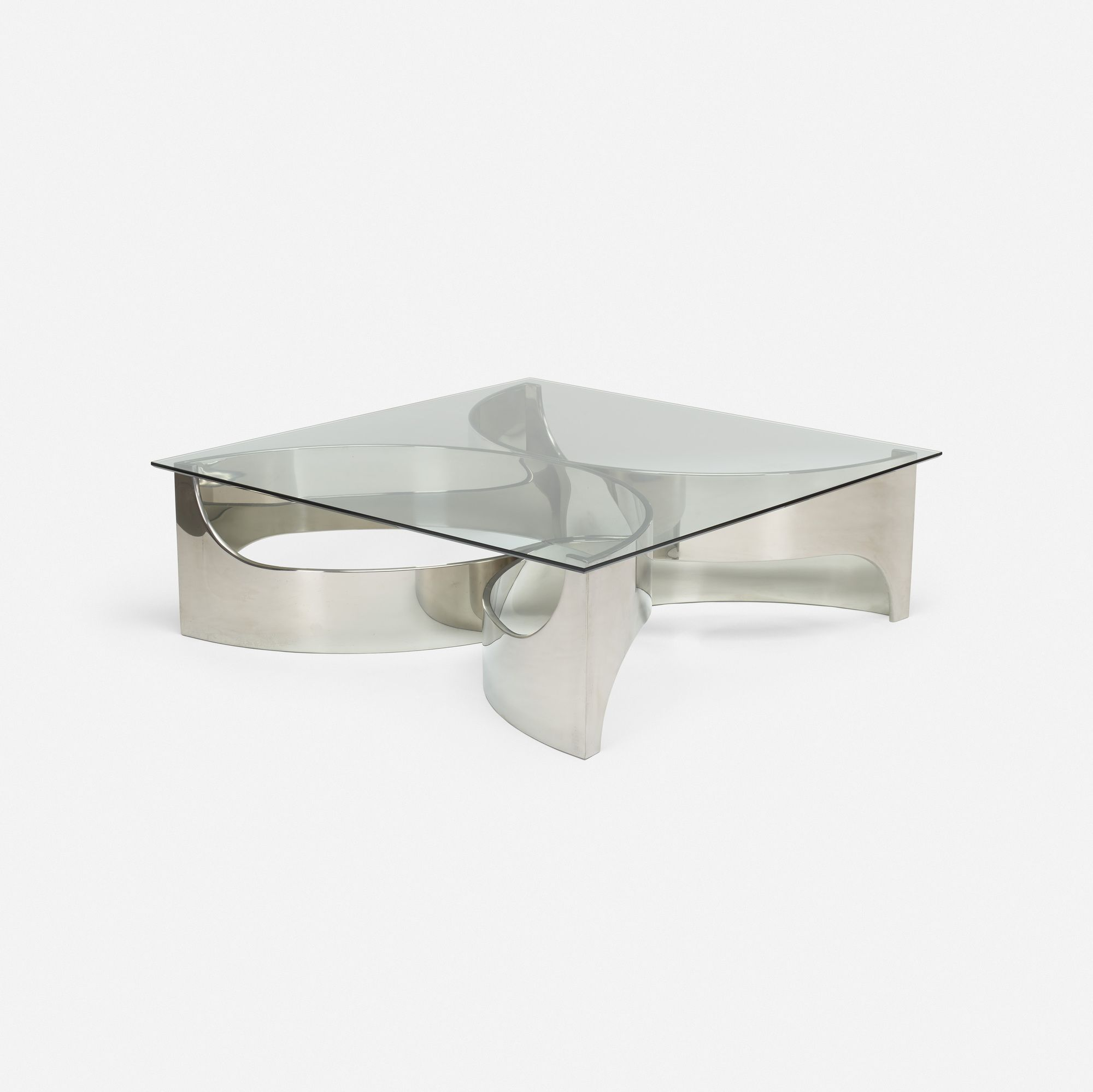 Lot 337 Maxform Coffee Table C 1970 Glass Stainless Steel 48 W X 48 D X 15 H In Estimate 3 000 5 000 Coffee Table Table Coffee [ 1999 x 2000 Pixel ]