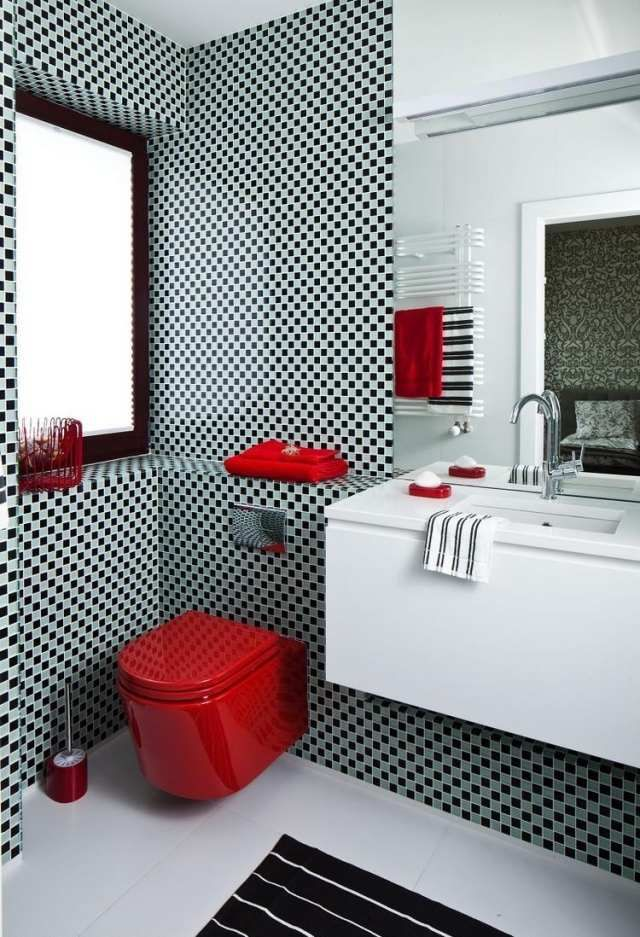 1000 images about salle de bain on pinterest new york black tiles and design - Salle De Bain Rouge Et Blanc