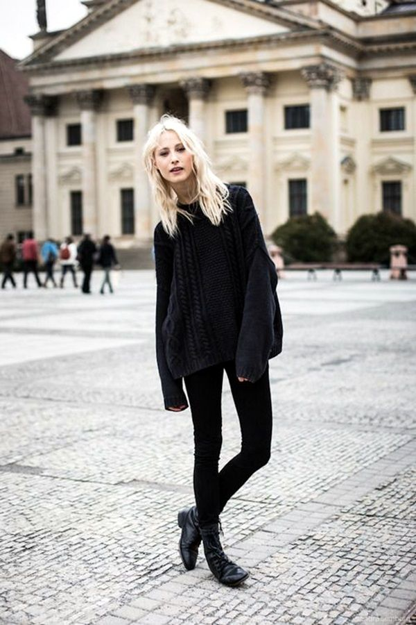40 Cute Oversized Sweater Outfit Ideas For 2015 | Black sweater ...